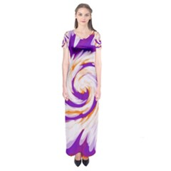 Tie Dye Purple Orange Abstract Swirl Short Sleeve Maxi Dress