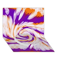 Tie Dye Purple Orange Abstract Swirl Circle Bottom 3D Greeting Card (7x5)