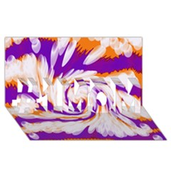 Tie Dye Purple Orange Abstract Swirl #1 MOM 3D Greeting Cards (8x4)