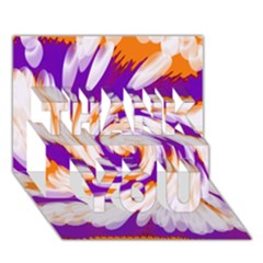 Tie Dye Purple Orange Abstract Swirl THANK YOU 3D Greeting Card (7x5)