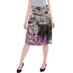 Emma In Flowers I, Little Gray Tabby Kitty Cat Midi Beach Skirt