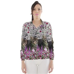 Emma In Flowers I, Little Gray Tabby Kitty Cat Wind Breaker (Women)