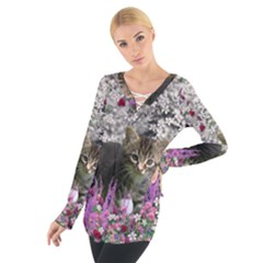 Emma In Flowers I, Little Gray Tabby Kitty Cat Women s Tie Up Tee