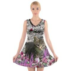 Emma In Flowers I, Little Gray Tabby Kitty Cat V Neck Sleeveless Skater Dress