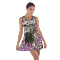 Emma In Flowers I, Little Gray Tabby Kitty Cat Racerback Dresses