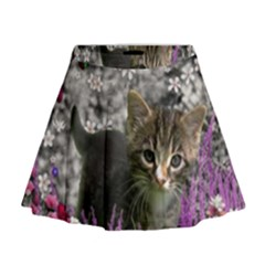 Emma In Flowers I, Little Gray Tabby Kitty Cat Mini Flare Skirt