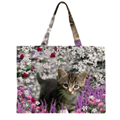 Emma In Flowers I, Little Gray Tabby Kitty Cat Large Tote Bag