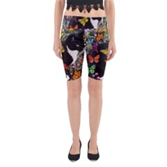 Freckles In Butterflies I, Black White Tux Cat Yoga Cropped Leggings