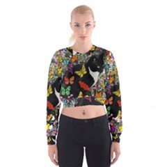 Freckles In Butterflies I, Black White Tux Cat Women s Cropped Sweatshirt
