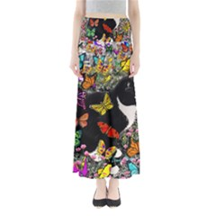 Freckles In Butterflies I, Black White Tux Cat Maxi Skirts