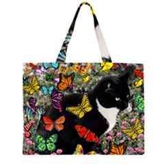 Freckles In Butterflies I, Black White Tux Cat Zipper Large Tote Bag