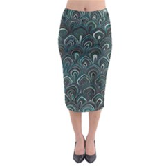 Peacock Pattern Teal Midi Pencil Skirt
