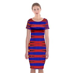 Bright Blue Red Yellow Mod Abstract Classic Short Sleeve Midi Dress