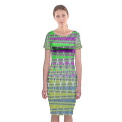 Colorful Zigzag Pattern Classic Short Sleeve Midi Dress