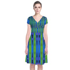 Blue Green Geometric Wrap Dress