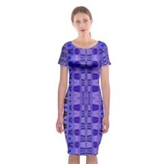 Blue Black Geometric Pattern Classic Short Sleeve Midi Dress