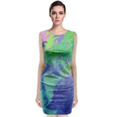 Green Blue Pink Color Splash Classic Sleeveless Midi Dress