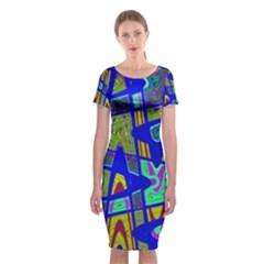 Bright Blue Mod Pop Art  Classic Short Sleeve Midi Dress