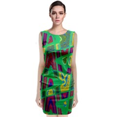 Bright Green Mod Pop Art Classic Sleeveless Midi Dress