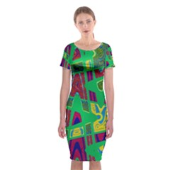 Bright Green Mod Pop Art Classic Short Sleeve Midi Dress