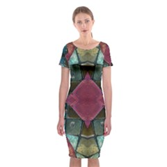 Pink Turquoise Stone Abstract Classic Short Sleeve Midi Dress