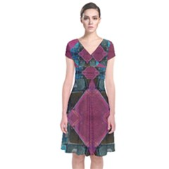 Pink Turquoise Stone Abstract Wrap Dress