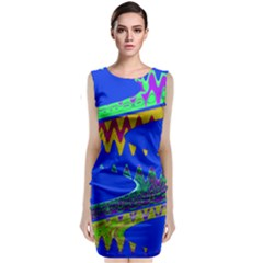 Colorful Wave Blue Abstract Classic Sleeveless Midi Dress