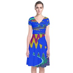 Colorful Wave Blue Abstract Wrap Dress