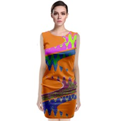 Colorful Wave Orange Abstract Classic Sleeveless Midi Dress