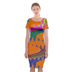 Colorful Wave Orange Abstract Classic Short Sleeve Midi Dress