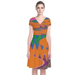 Colorful Wave Orange Abstract Wrap Dress