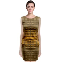 Yellow Gold Khaki Glow Pattern Classic Sleeveless Midi Dress