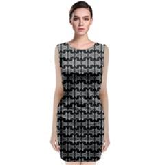 Black White Tiki Pattern Classic Sleeveless Midi Dress