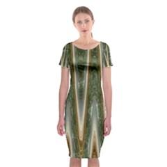 Green Brown Zigzag Classic Short Sleeve Midi Dress