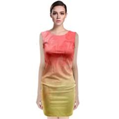 Ombre Orange Yellow Classic Sleeveless Midi Dress