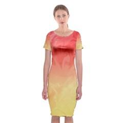 Ombre Orange Yellow Classic Short Sleeve Midi Dress