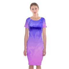 Ombre Purple Pink Classic Short Sleeve Midi Dress