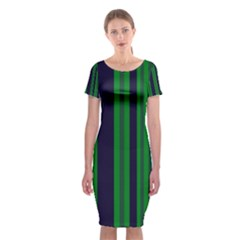 Dark Blue Green Striped Pattern Classic Short Sleeve Midi Dress