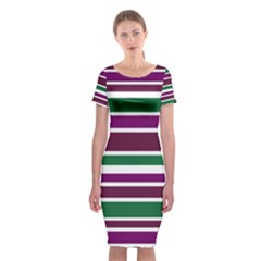 Purple Green Stripes Classic Short Sleeve Midi Dress