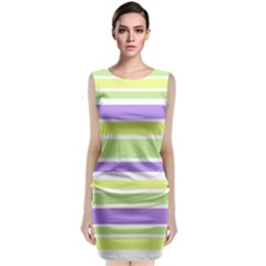 Yellow Purple Green Stripes Classic Sleeveless Midi Dress
