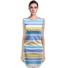 Blue Yellow Stripes Classic Sleeveless Midi Dress