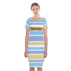 Blue Yellow Stripes Classic Short Sleeve Midi Dress