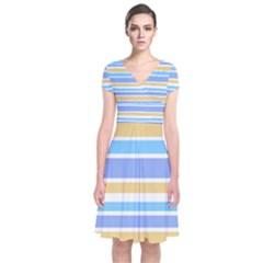 Blue Yellow Stripes Wrap Dress