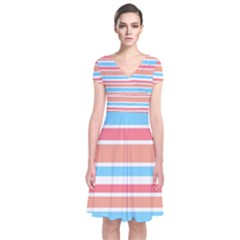 Orange Blue Stripes Wrap Dress