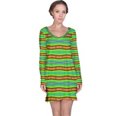 Bright Green Orange Lines Stripes Long Sleeve Nightdress