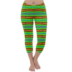 Bright Green Orange Lines Stripes Capri Winter Leggings