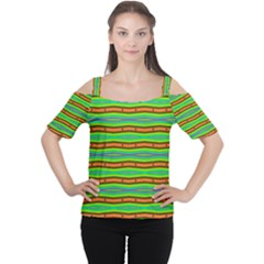 Bright Green Orange Lines Stripes Women s Cutout Shoulder Tee