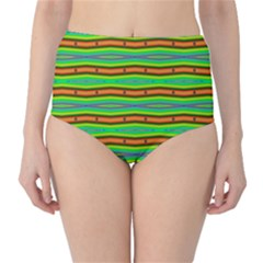 Bright Green Orange Lines Stripes High-Waist Bikini Bottoms