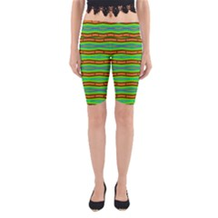 Bright Green Orange Lines Stripes Yoga Cropped Leggings