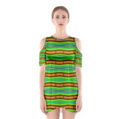 Bright Green Orange Lines Stripes Cutout Shoulder Dress